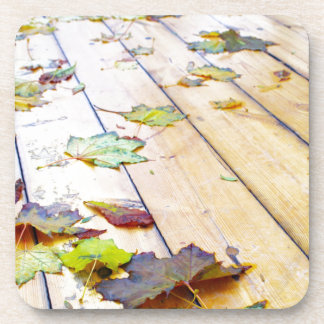 Close up view on a wet green and yellow leaves of drink coaster