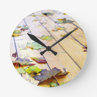 Close up view on a wet green and yellow leaves of round clocks