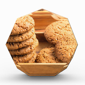 Close-up view on oat biscuits in wooden boxes award