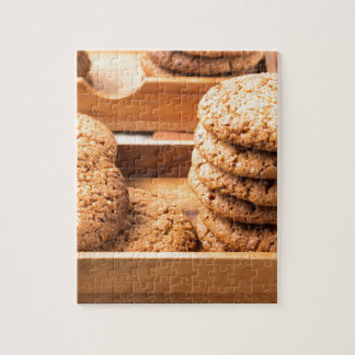 Close-up view on oat biscuits in wooden boxes jigsaw puzzle