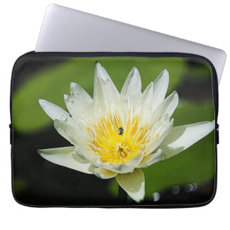 Close-up White Water Lily Flower and Bee Laptop Computer Sleeves