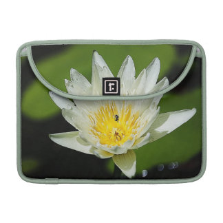 Close-up White Water Lily Flower and Bee MacBook Pro Sleeve
