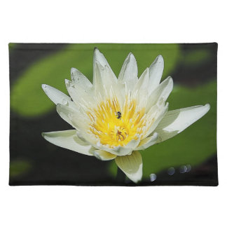 Close-up White Water Lily Flower and Bee Placemats