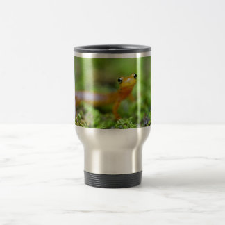 Close view of longtail salamander face 15 oz stainless steel travel mug