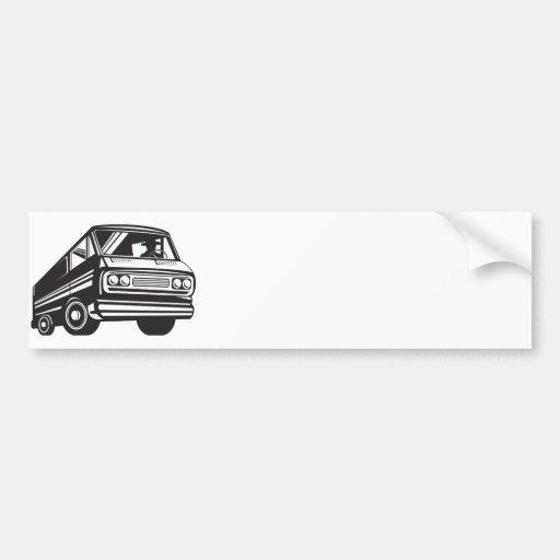 Closed Delivery Van Retro Bumper Stickers