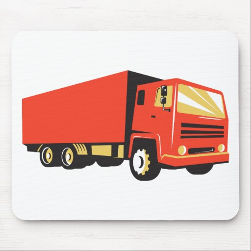 closed delivery van truck retro mouse pad