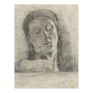 Closed eyes by Bertrand-Jean Redon Postcard