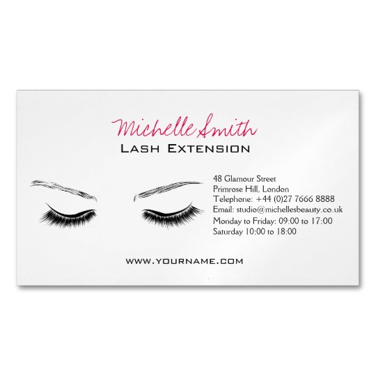 Closed Eyes Long Lashes Lash Extension Business Card Magnet