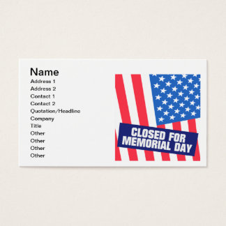 Closed For Memorial Day Business Card