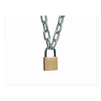 Closed padlock and chain postcard