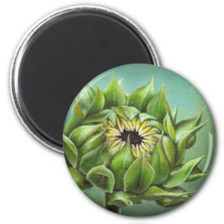 Closed sunflower 2 inch round magnet