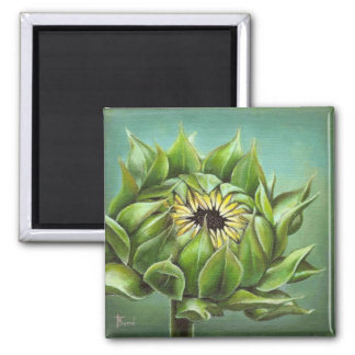 Closed sunflower 2 inch square magnet