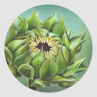 Closed sunflower classic round sticker