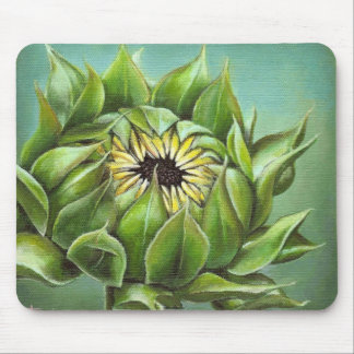 Closed sunflower mouse pad