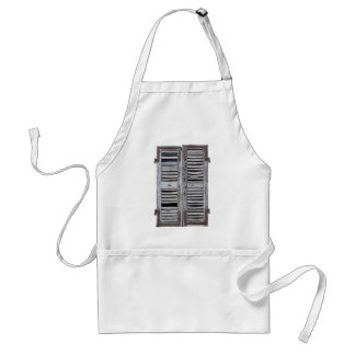 Closed window with old wood shutters adult apron