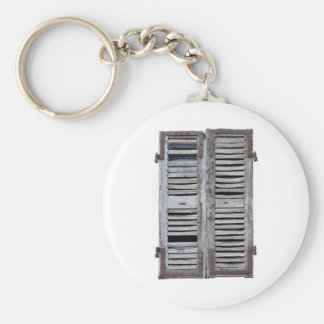 Closed window with old wood shutters basic round button keychain