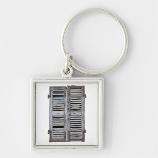 Closed window with old wood shutters Silver-Colored square keychain