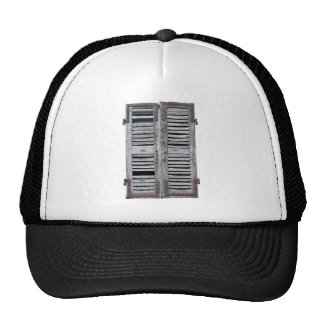 Closed window with old wood shutters trucker hat