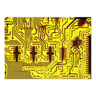 Closer view of circuit board pathways custom invitations
