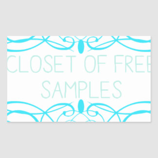 Closet of Free Samples Blue Line Rectangular Sticker
