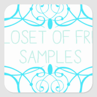 Closet of Free Samples Blue Line Square Sticker