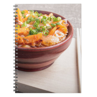 Closeup Asian food of rice noodles and vegetables Notebook