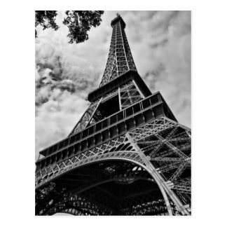 Closeup Black White Eiffel Tower Love Paris Europe Postcard