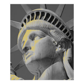 Closeup Black White Yellow Statue of Liberty Print