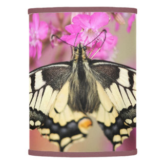 Closeup dovetail butterfly on lilac flower lamp shade
