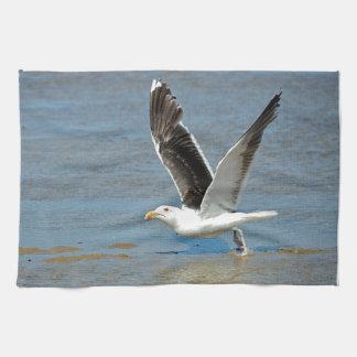 Closeup Great Black-backed Gull in flight Hand Towel