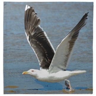 Closeup Great Black-backed Gull in flight Printed Napkin