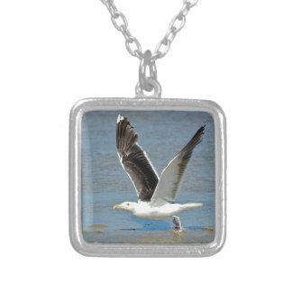 Closeup Great Black-backed Gull in flight Personalized Necklace
