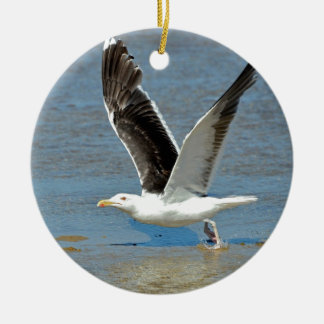 Closeup Great Black-backed Gull in flight Ornament