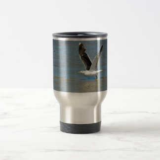 Closeup Great Black-backed Gull in flight Travel Mug
