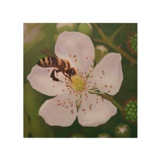 closeup illustration of bee on blackberry blossom wood wall art