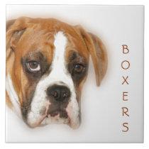 Closeup of a Boxer Dog Tile Trivet