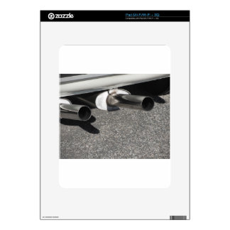 Closeup of a classic car exhaust pipe  Double pipe Decal For The iPad