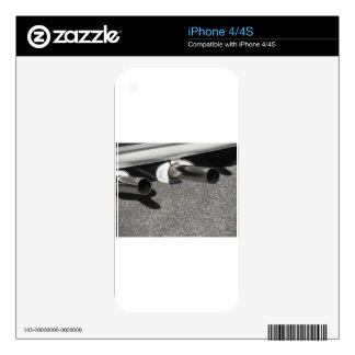 Closeup of a classic car exhaust pipe  Double pipe iPhone 4 Skins