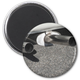 Closeup of a classic car exhaust pipe  Double pipe Magnet