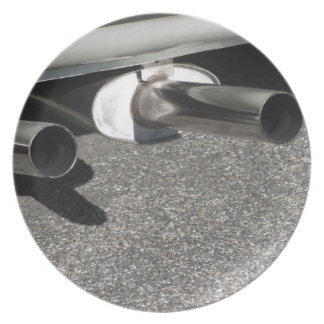 Closeup of a classic car exhaust pipe  Double pipe Melamine Plate
