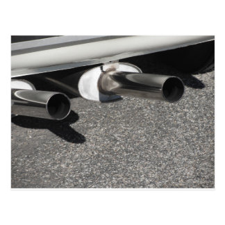 Closeup of a classic car exhaust pipe  Double pipe Postcard
