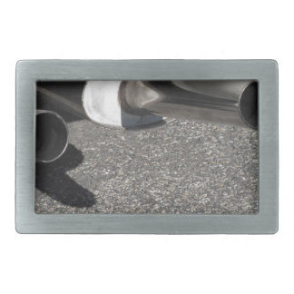 Closeup of a classic car exhaust pipe  Double pipe Rectangular Belt Buckle