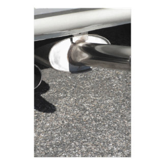 Closeup of a classic car exhaust pipe  Double pipe Stationery
