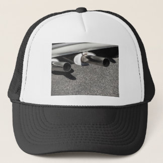Closeup of a classic car exhaust pipe  Double pipe Trucker Hat
