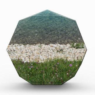 Closeup of a crystal clear alpine lake acrylic award