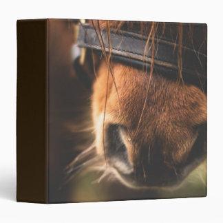 Closeup of a Cute Brown Horse Nose 3 Ring Binder