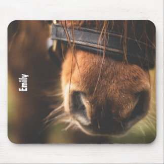 Closeup of a Cute Brown Horse Nose Personalized Mouse Pad
