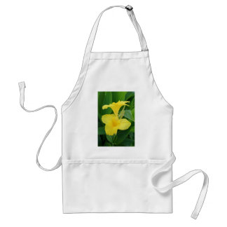 Closeup Of A Tropical Yellow Canna Lily Adult Apron