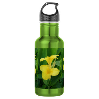 Closeup Of A Tropical Yellow Canna Lily Water Bottle