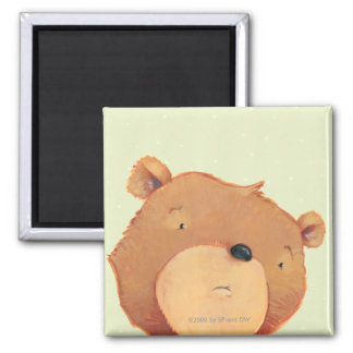 CloseUp of Big Brown Bear 2 Inch Square Magnet